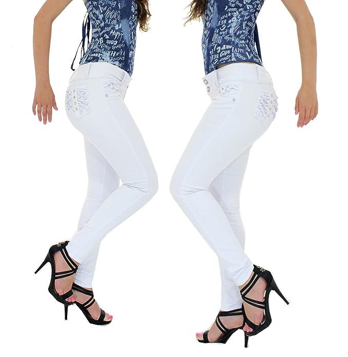 HADABELLA Vaqueros Mujer Push UP Blanco con Pinzas INTERNAS ...