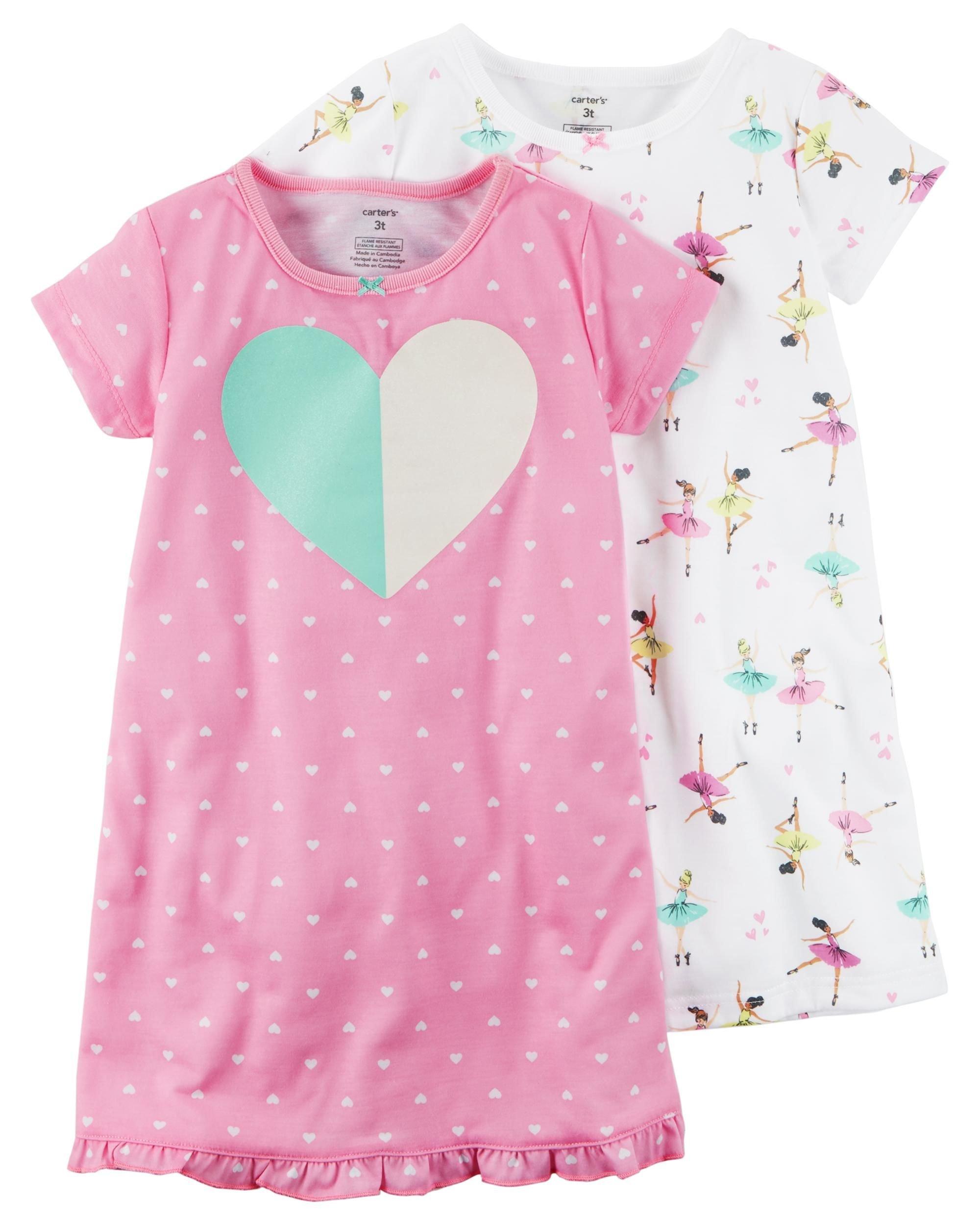 Carters Girls 4-14 Sleep Gown Set S (4/5),Heart/Ballerina