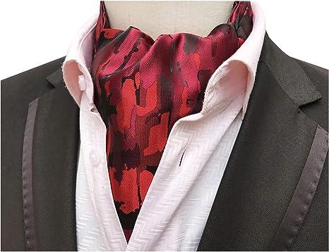 Amazon.com: Elfeves Men's Bright Red Floral Silk Cravat Ties Romance Young  Gentlemen Ascot: Clothing