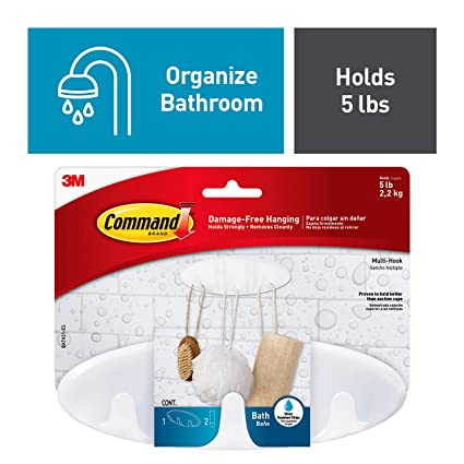 3m Command Bathroom Hook With Water Resistant Strips Multi Hook White