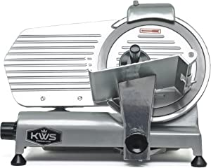 """KWS Commercial 320w Electric Meat Slicer 10"""" Frozen Meat Deli Slicer Coffee Shop/restaurant and Home Use Low Noises (Stainless Steel Blade-Silver)"""