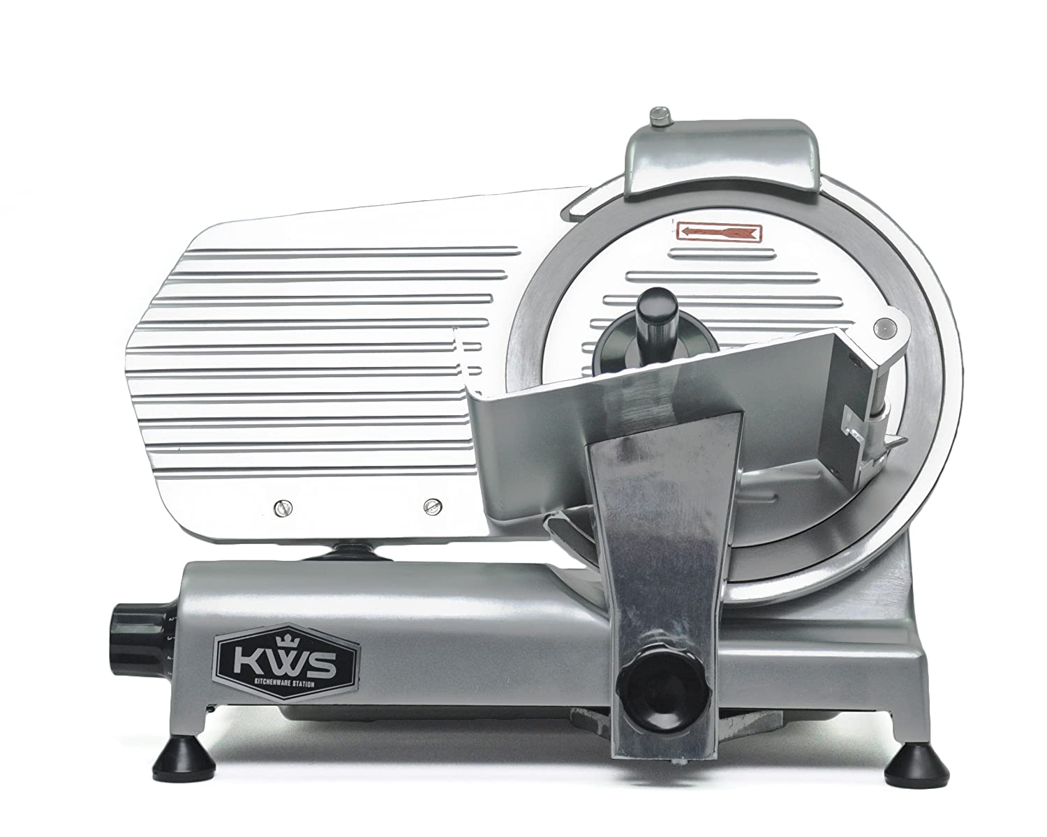 KWS Commercial 320w Electric Meat Slicer 10 Frozen Meat Deli Slicer Coffee Shop restaurant and Home Use Low Noises Stainless Steel Blade-Silver
