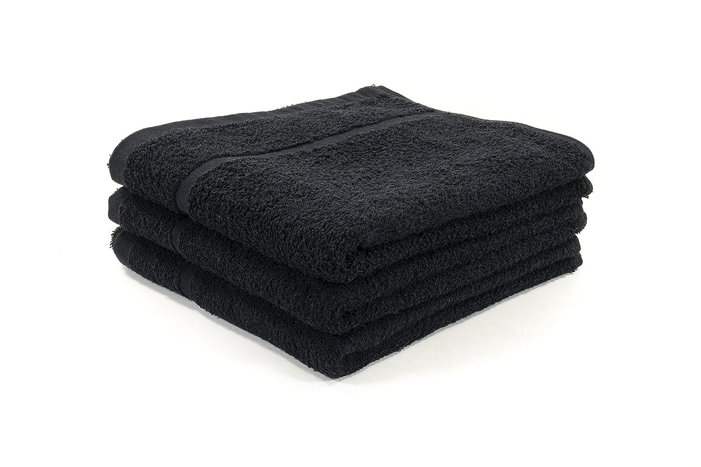 12 X BLACK BLEACH PROOF HAIRDRESSING / BEAUTY TOWELS / BARBER TOWELS / SALON TOWELS 400GSM 50 X 85CM