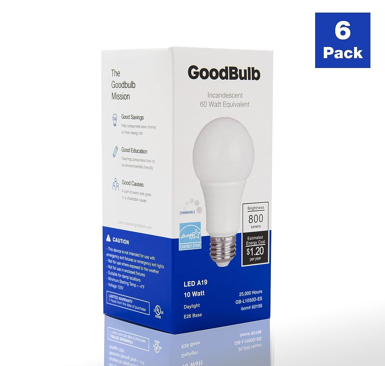 Dimmable 6 Pack GoodBulb 10 Watt - Soft White A19 Shape E26 Base 60 Watt Equivalent LED Light Bulbs