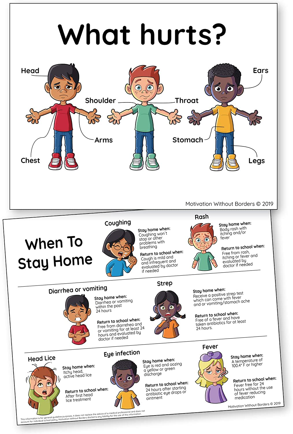 School Nurse Posters Set (17x22 LAMINATED) School Nurse Office Decorations and Nurse Home Decor (2 Posters Included)