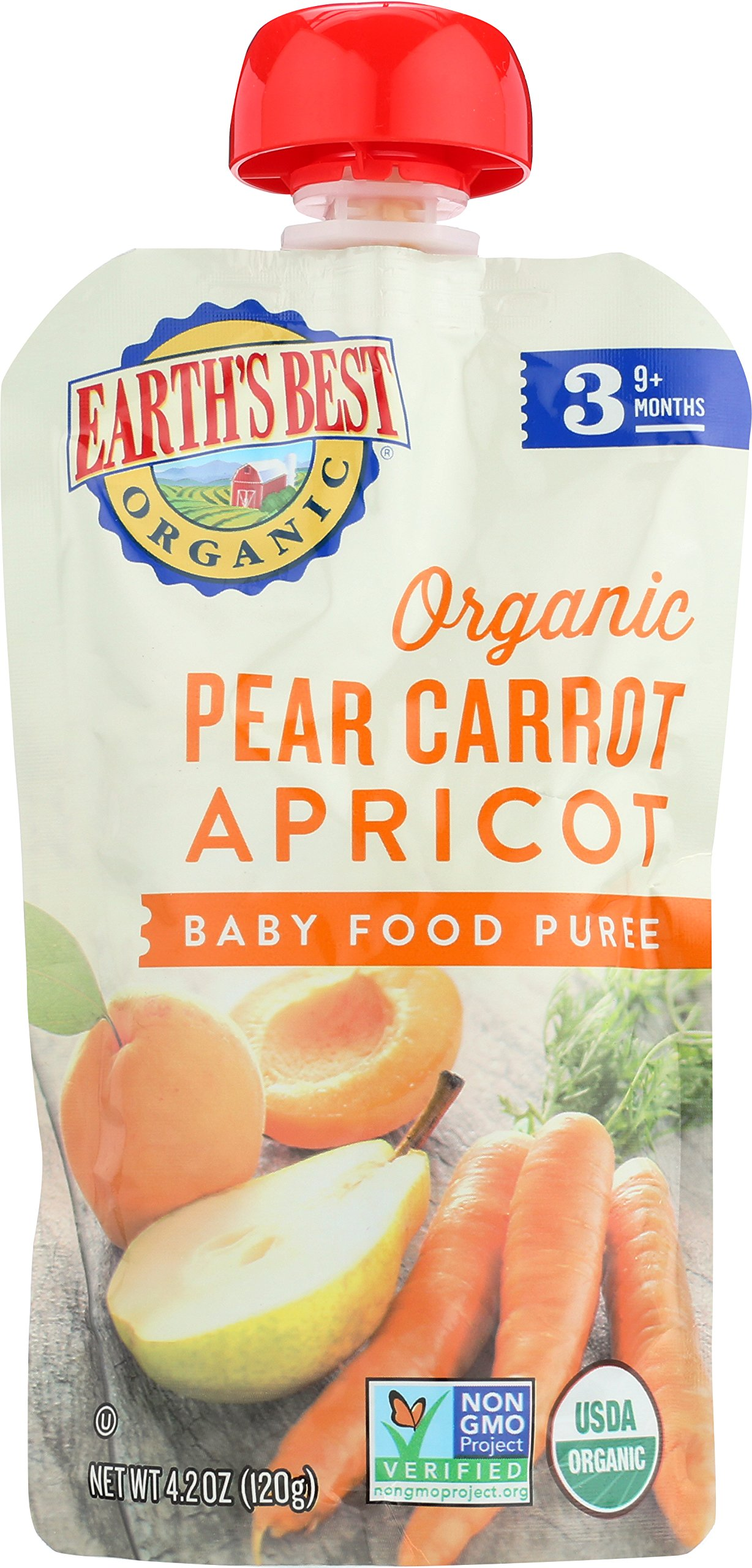 Earth's Best Organic Stage 3, Pear, Carrot & Apricot, 4.2 oz