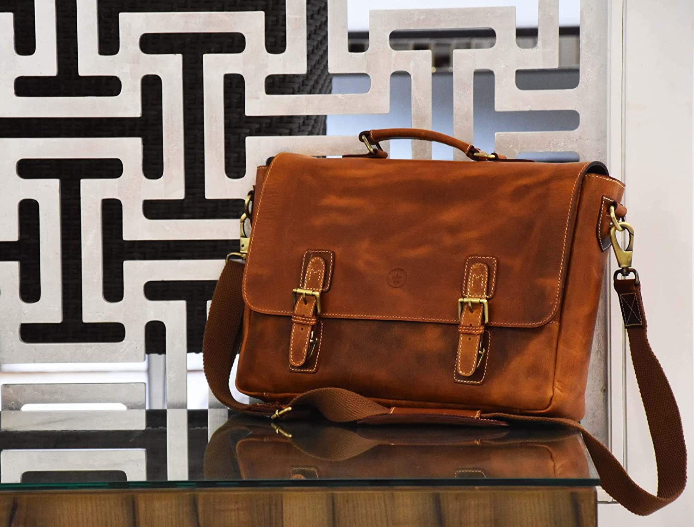 d3e23598a182 Amazon.com  15.5 inch Leather Messenger Bag