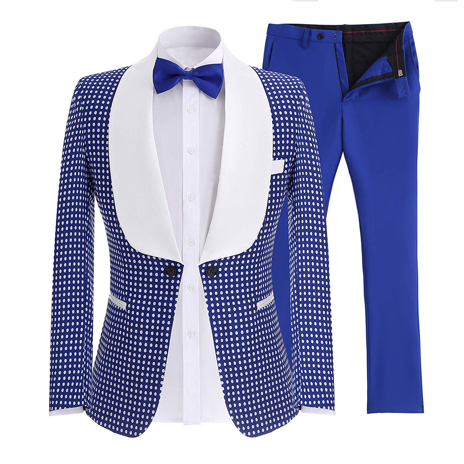 JinXuanYa Mens Suit Slim Fit Notch Lapel One Button Tuxedo Blazer Jacket Pants Vest Set