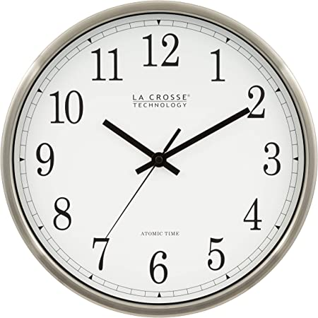 La Crosse Technology Wt 3126b 12 Inch Atomic Analog Wall Clock Aluminum Home Kitchen Amazon Com