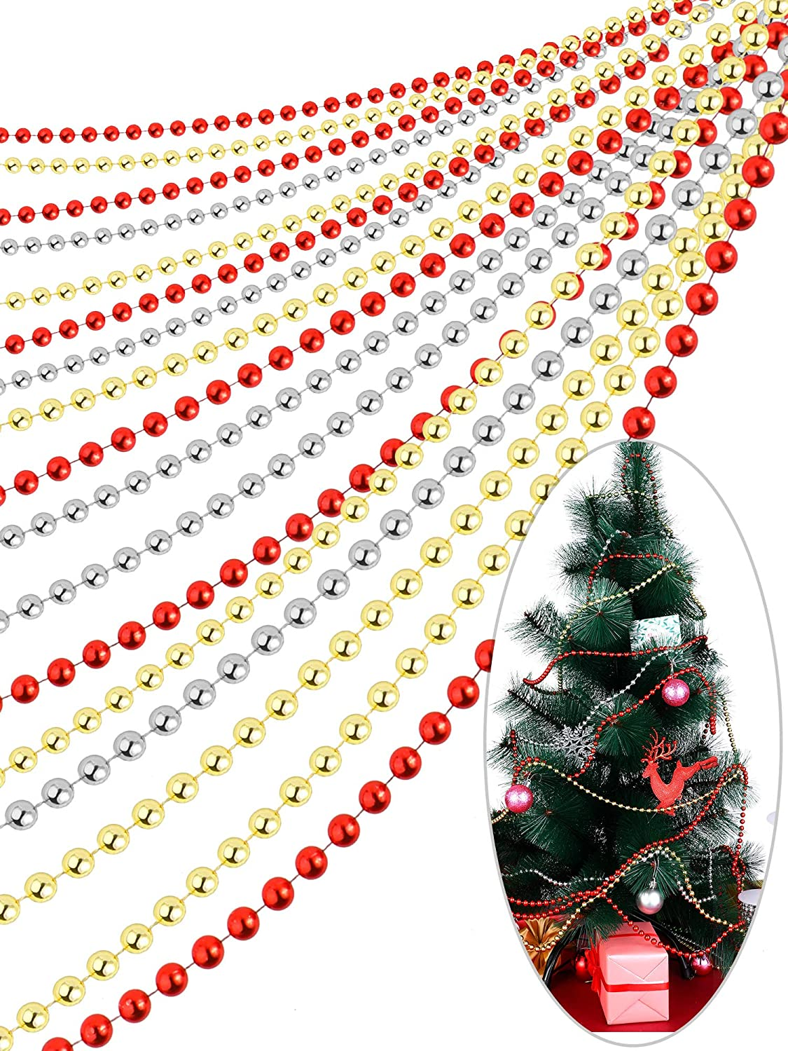 50 Feet Faux Pearls Beads Garland Chain Christmas Tree Beads Plastic Beaded Trim for Christmas Wedding Supplies 3 Colors