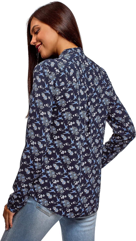 oodji Collection Mujer Blusa de Viscosa con Cuello Mao