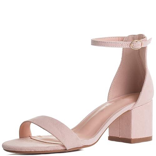 Womens Adjustable Buckle Block Heel Sandals Shoes