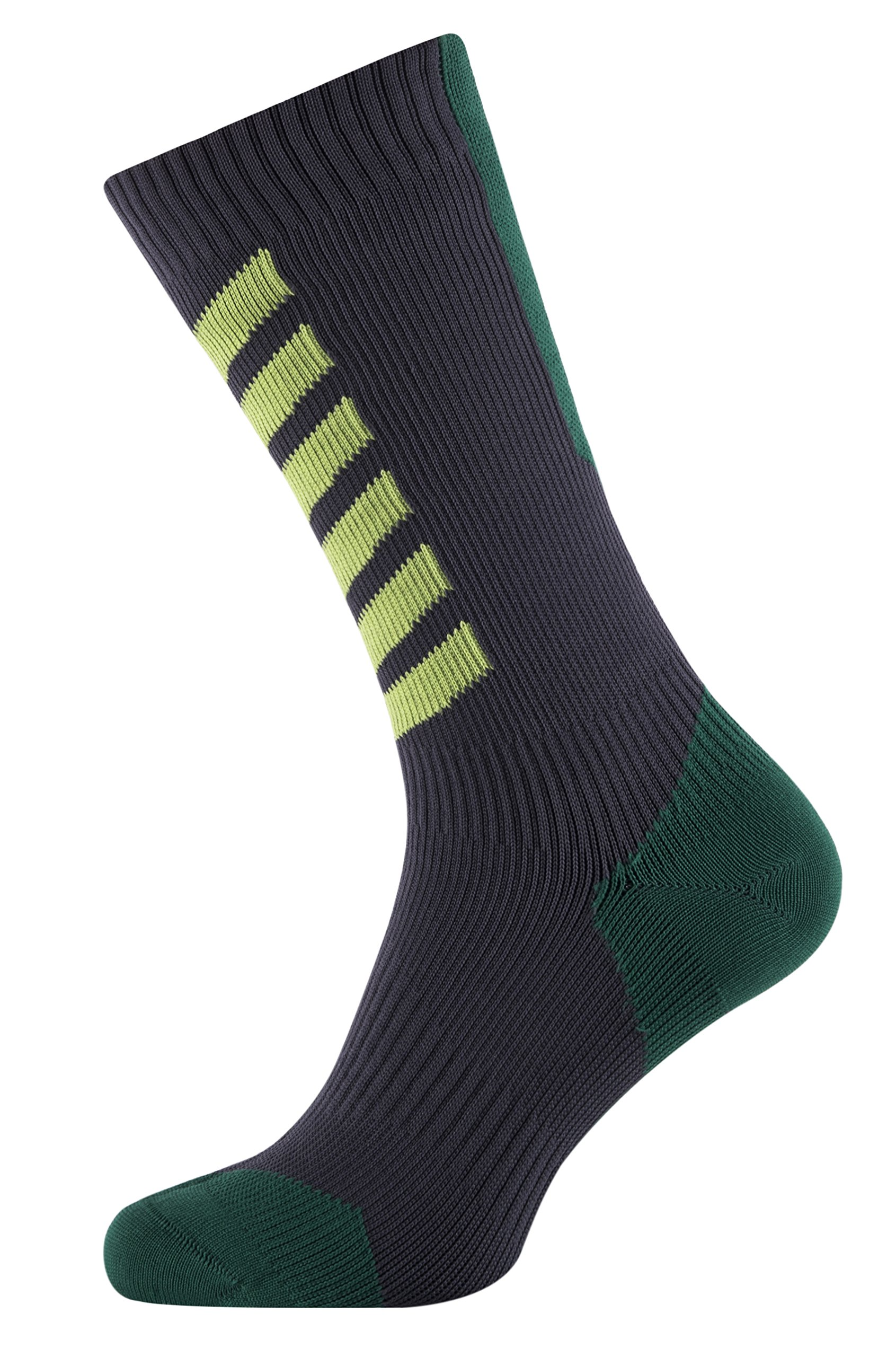 SEALSKINZ MTB Mid Mid Socks with Hydrostop, X Large - Anthracite/Leaf/Lime. With a Helicase brand sock ring by SEALSKINZ