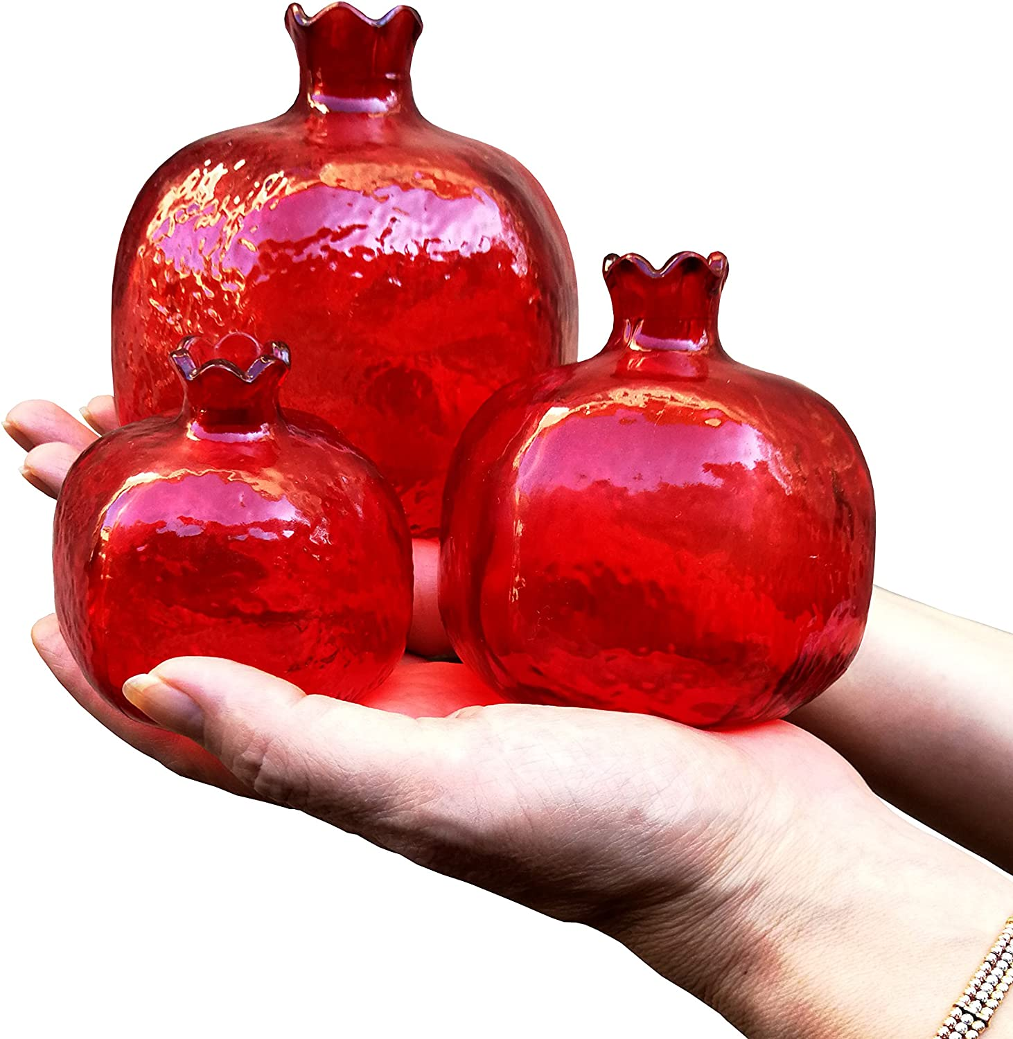 Bestdepo Pomegranate Home Decor,Ornament,Red Glass Vase,Set of 3, New Year Gift