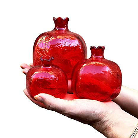 Amazon Pomegranate Home Decor Ornament Red Glass Vase Set