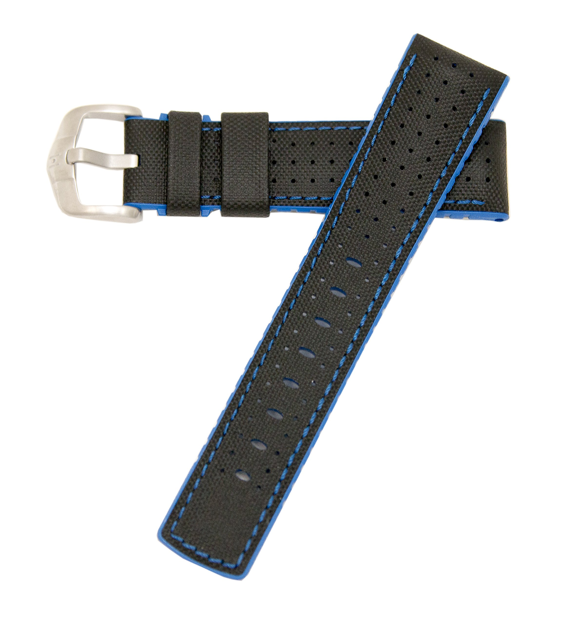 Hirsch Performance Robby Sailcloth Style 22mm Leather and Rubber Watch Band Black / Blue