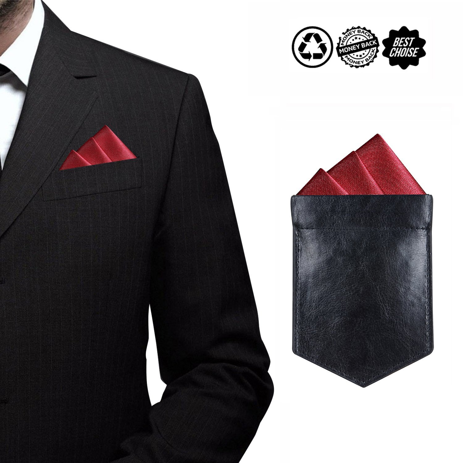 ONLVAN Pocket Square Holder Leather Slim Pocket Square Holder for Men's Suit Handkerchief Keeper (Black)