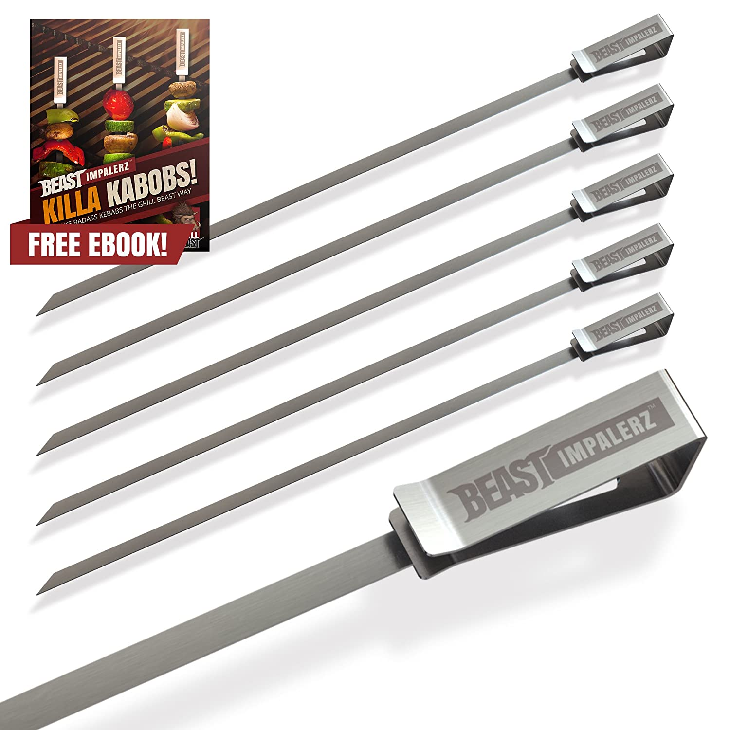 Grill Beast BBQ Skewers - 6 Reusable Flat Blade Stainless Steel with Sharp, Angled Points for Grilling Seafood, Vegetable, or Fruit Kebabs Beast Impalerz