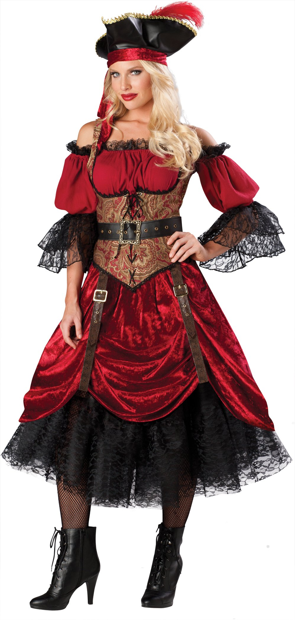 InCharacter Costumes, LLC Women's Swashbucklin Scarlet Pirate Costume, Red, Large