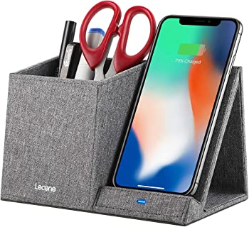 Lecone 10W Qi Certified Fabric Induction Wireless Charger w/Desk Organizer