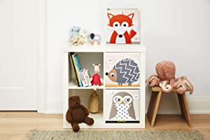 3 Sprouts Cube Storage Boxes - Organizer Container for Kids & Toddlers, Woodland Set