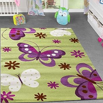 T&T Design Teppich Kinderzimmer Kinderteppich Schmetterling ...