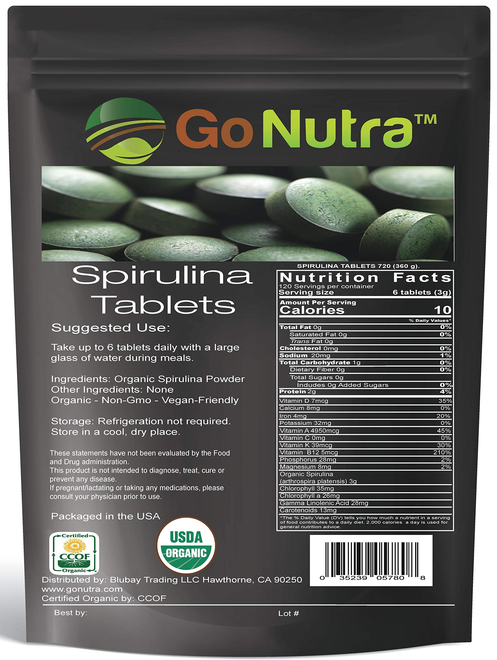 Organic Spirulina Tablets, 3000mg Per Serving, 720 Tablets - Superfoods Rich in Minerals, Vitamins, Chlorophyll, Amino Acids, Fatty Acids, Fiber & Proteins. Non-Irradiated, Non-GMO & Vegan