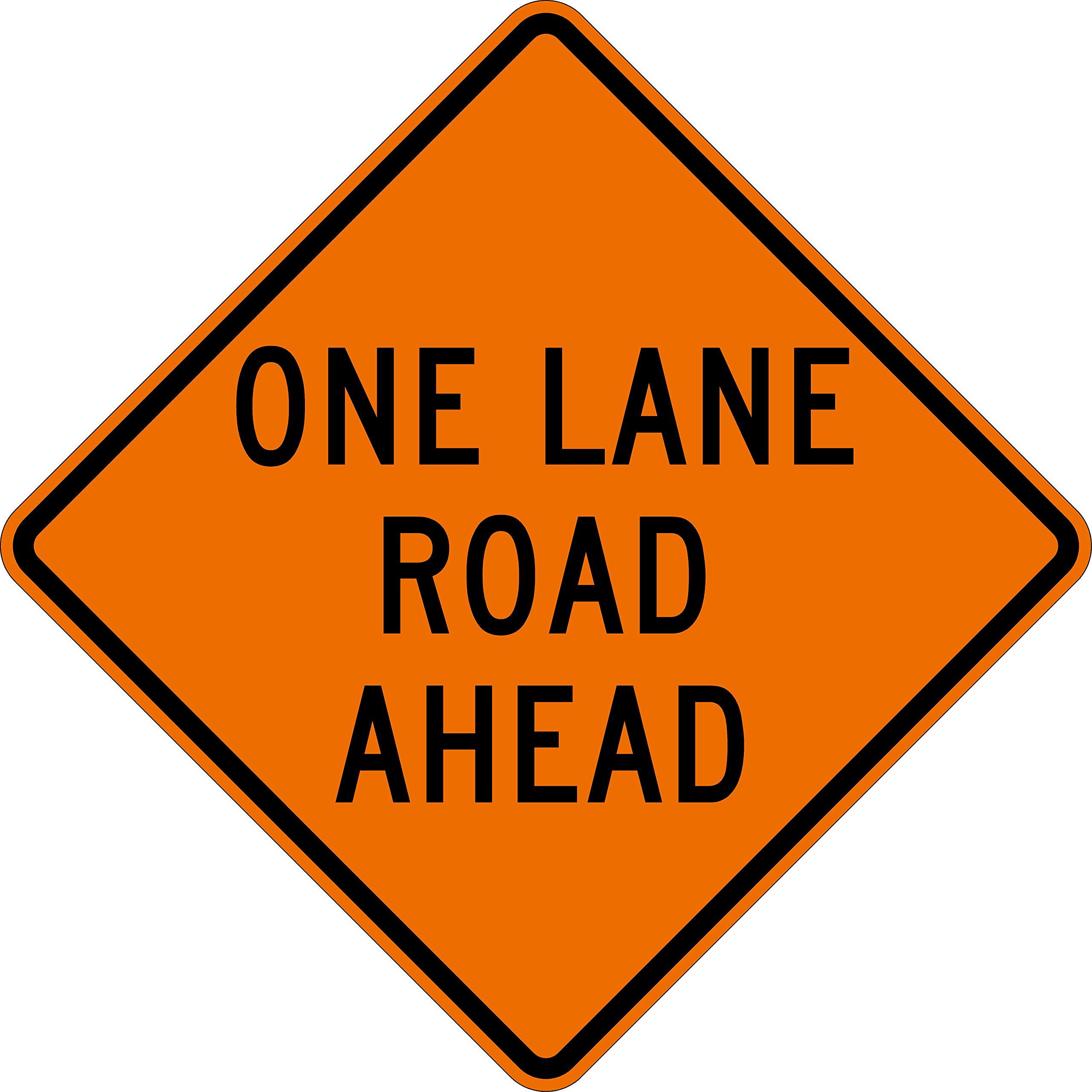 Dicke Safety Products ONE LANE ROAD AHEAD, 36'' Non-Reflective Sign with Pockets and Ribs. Ribs -1 1/4'' Width, 1/4'' V thick & 3/16'' H thick , 4-Pockets