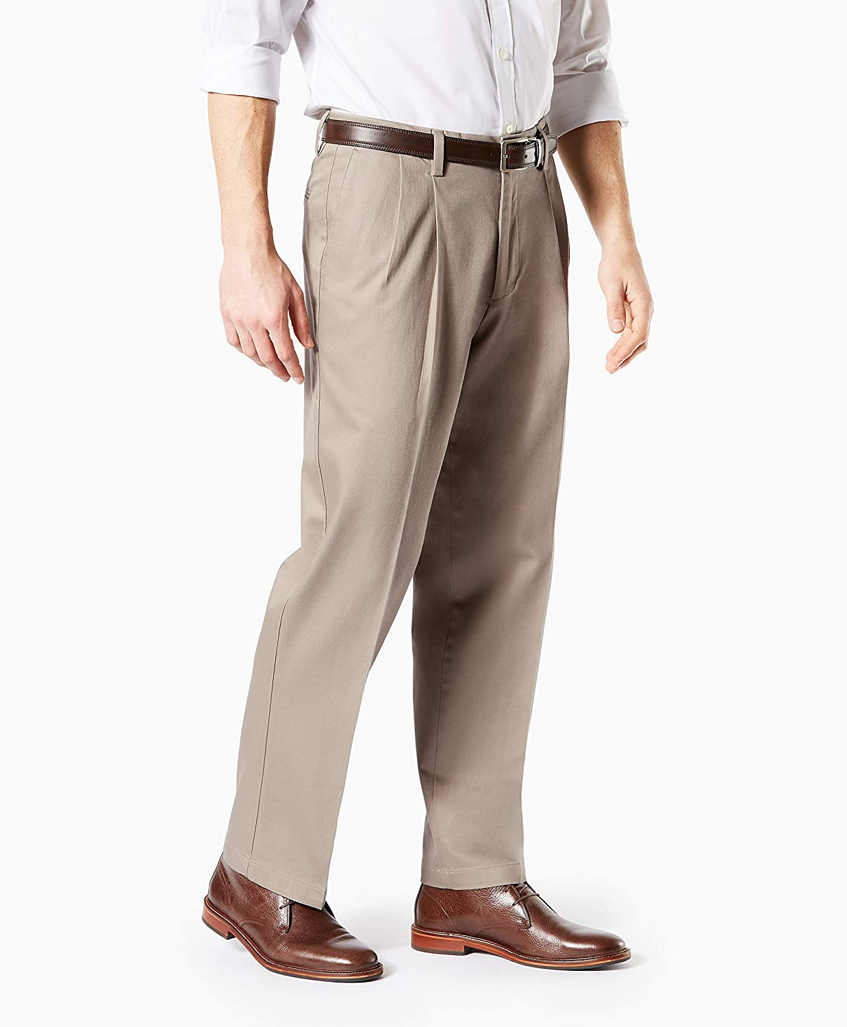 Dockers Mens Relaxed Fit Signature Khaki Lux Cotton Stretch Pants Pleated