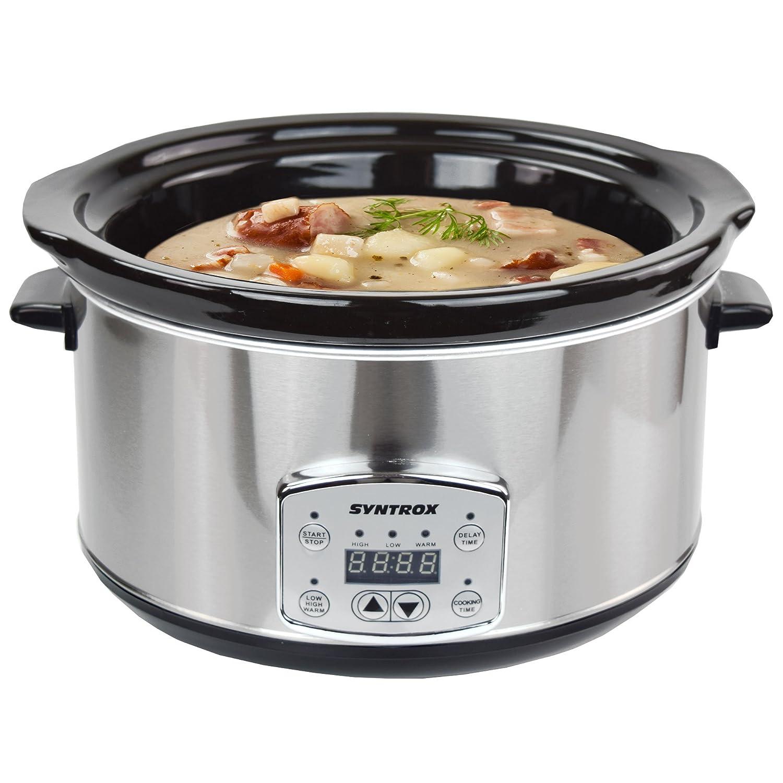 Syntrox Germany - Slow Cooker digitale in acciaio inox con timer e funzione di mantenimento del calore, 4,5 litri