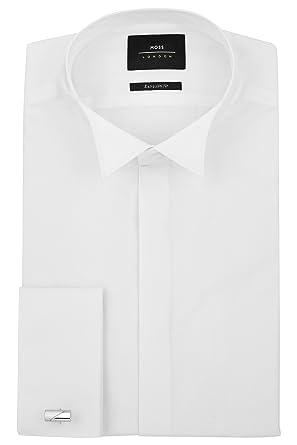 0ae246cd2b5 Moss London Men`s Extra Slim Fit Double Cuff Wing Collar Dress Shirt 17  White  Amazon.co.uk  Clothing