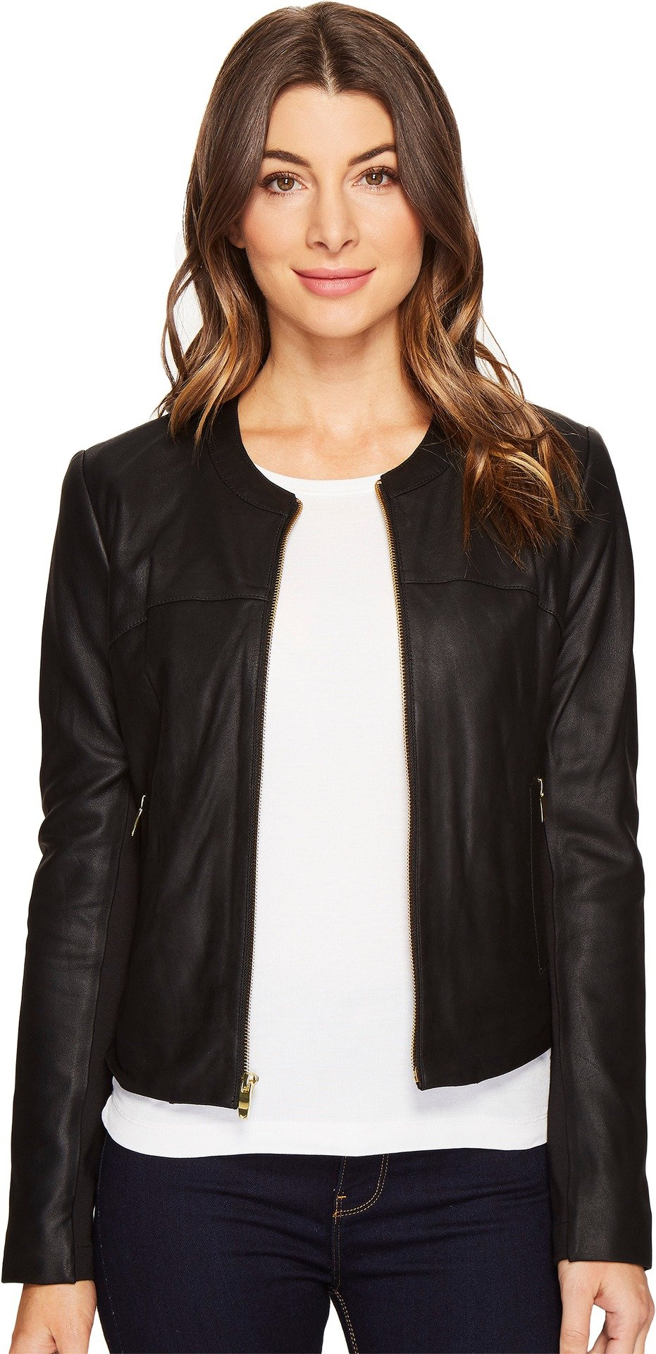 Via Spiga Women's Collarless Leather Jacket with Ponte Backing, Black, L