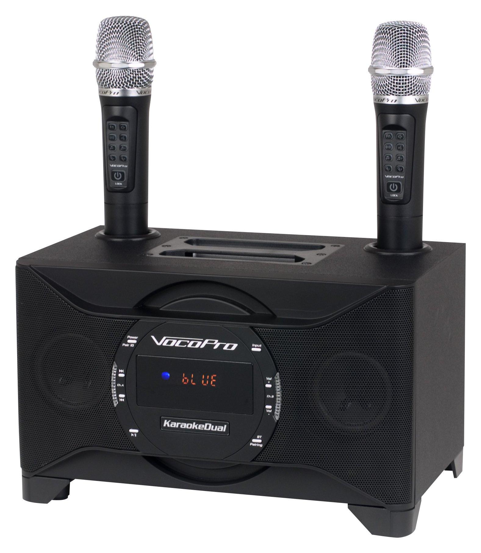 VOCOPRO Wireless Microphones & Vocal Eliminator, 1X1X1 (KARAOKEDUAL)