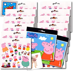 Peppa Pig Stickers Party Favors ~ Bundle Includes 12 Sheets of Peppa Pig Stickers (Peppa Pig Party Supplies)