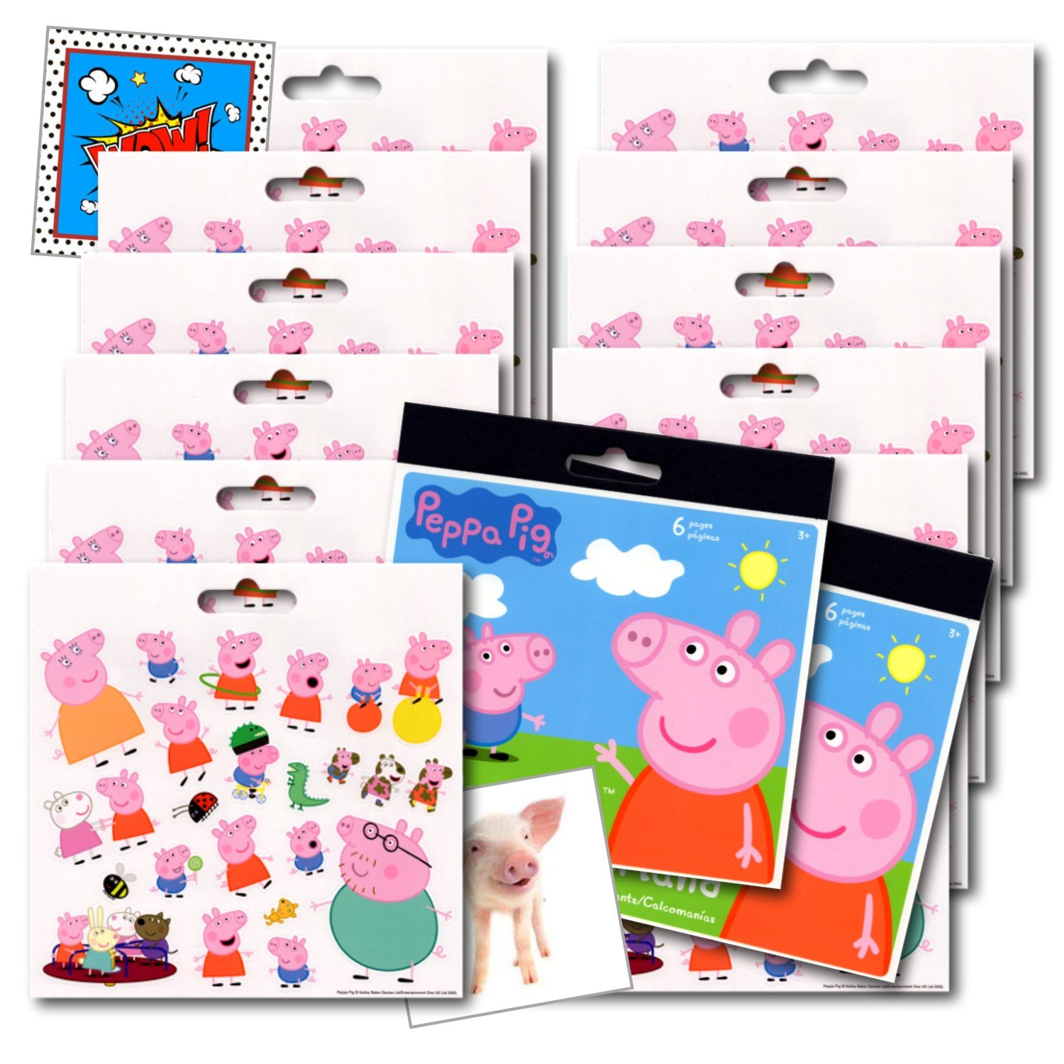 Peppa Pig Stickers Party Favors Pack 12 Sheets of Peppa and Friends Stickers 2 Specialty Separately Licensed Prize Reward Stickers