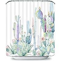 Payanwin Smurfs Yingda - Cortina de ducha para baño, diseño de cactus tropicales con 12 ganchos, diseño de flores de…