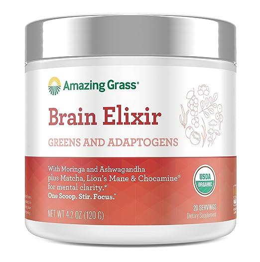 Amazing Grass Brain Elixir, Greens and Adaptogens Organic Powder, 20 Serving Tub, 4.2 oz