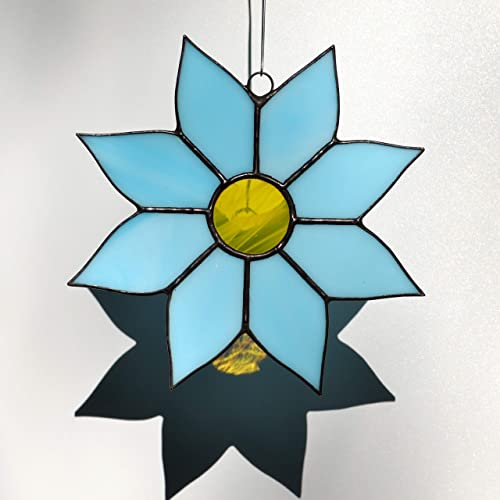 Amazoncom Zangerglass Aqua Flower Stained Glass Suncatcher