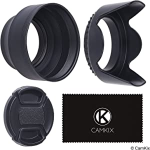 52mm Set of 2 Camera Lens Hoods and 1 Lens Cap - Rubber (Collapsible) + Tulip Flower - Sun Shade/Shield - Reduces Lens Flare and Glare - Blocks Excess Sunlight (52 mm, Rubber Hood + Tullip Hood + Cap)