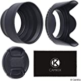 Set of 2 Camera Lens Hoods and 1 Lens Cap - Rubber (Collapsible) + Tulip Flower - Sun Shade/Shield - Reduces Lens Flare and Glare - Blocks Excess Sunlight for Enhanced Photography and Video Footage