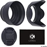 Set of 2 Camera Lens Hoods and 1 Lens Cap - Rubber (Collapsible) + Tulip Flower - Sun Shade/Shield - Reduces Lens Flare…