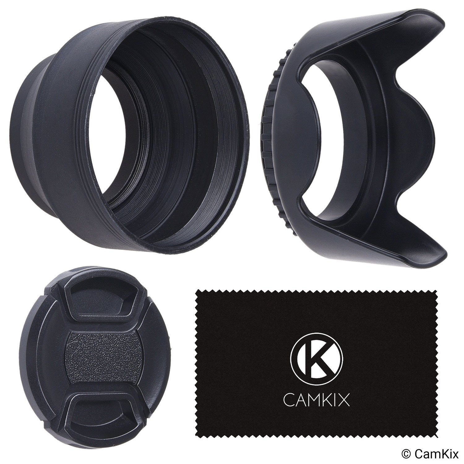 Set of 2 Camera Lens Hoods and 1 Lens Cap - Rubber (Collapsible) + Tulip Flower - Sun Shade / Shield - Reduces Lens Flare and Glare - Blocks Excess Sunlight for Enhanced Photography and Video Footage CamKix D0465-CLB-52M