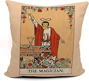 Tarot The Magician Throw Pillow Case, Gift for Daughter, Sister, Gift for Astrology Lovers, Tarot Lovers,Girl Room Decor, College Dorm Decor, 18 x 18 Inch Linen Cushion Cover for Sofa Couch Bed