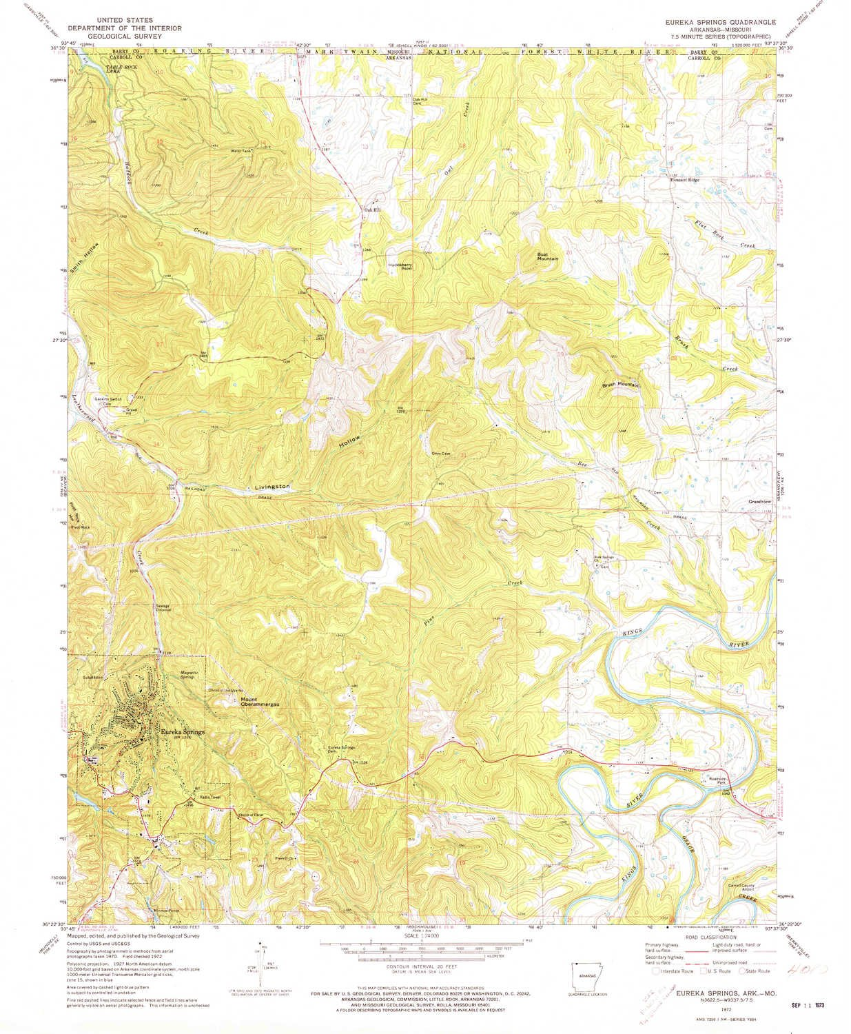 YellowMaps Eureka Springs AR topo map, 1:24000 Scale, 7.5 X 7.5 Minute, Historical, 1972, Updated 1973, 26.8 x 22.1 in