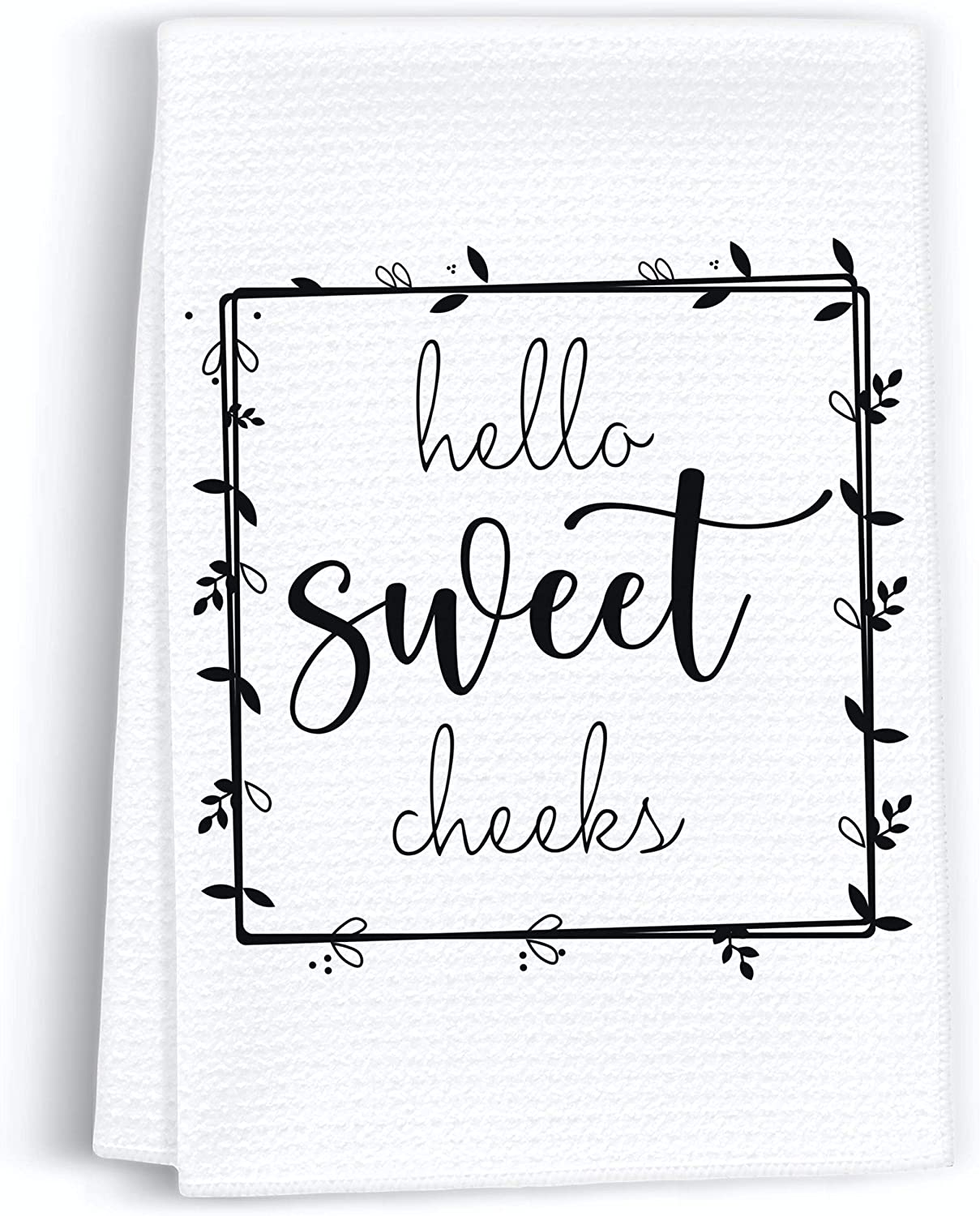 Peaces of Joy Hello Sweet Cheeks Funny Hand Towel Sayings for Bathroom, Rustic Cute Dish Kitchen Towels for Home, Decorative Farmhouse Bath Sign Gifts