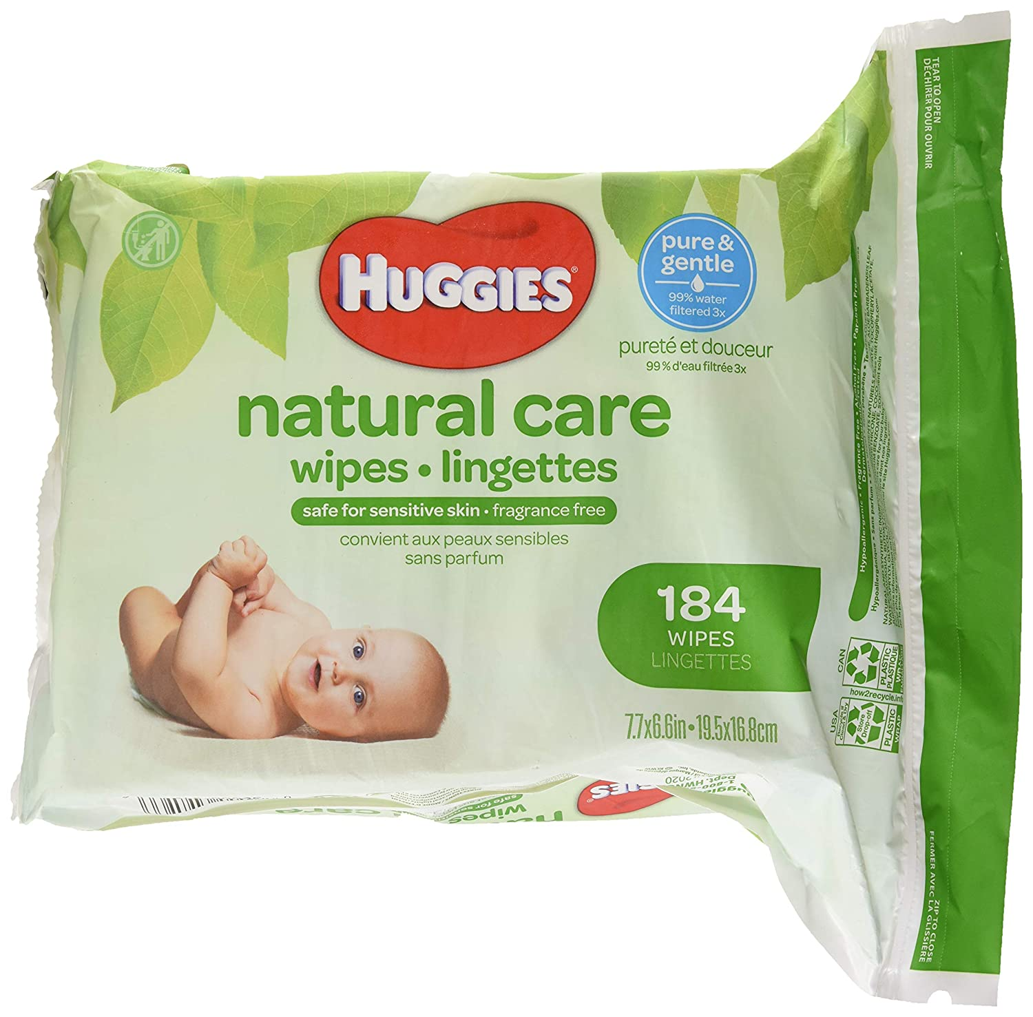 HUGGIES NATURAL CARE Fragrance-Free & Hypoallergenic Baby Wipes (Refill Pack, 184 Count) Kimberly-Clark Corp. CA 31816