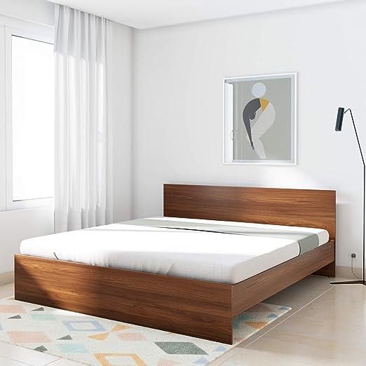 Amazon Brand   Solimo Medusa Engineered Wood King Bed  Walnut finish  Beds