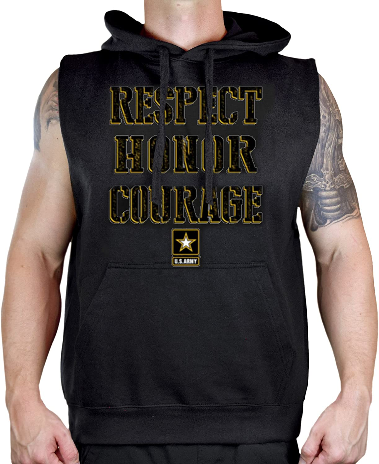 Mens US Army Respect Honor Courage Sleeveless Vest Hoodie