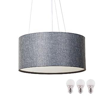 Gris E27 5w Led Avec Ampoule Lampe Suspension Sebson En Textile 3x 08nwOPk