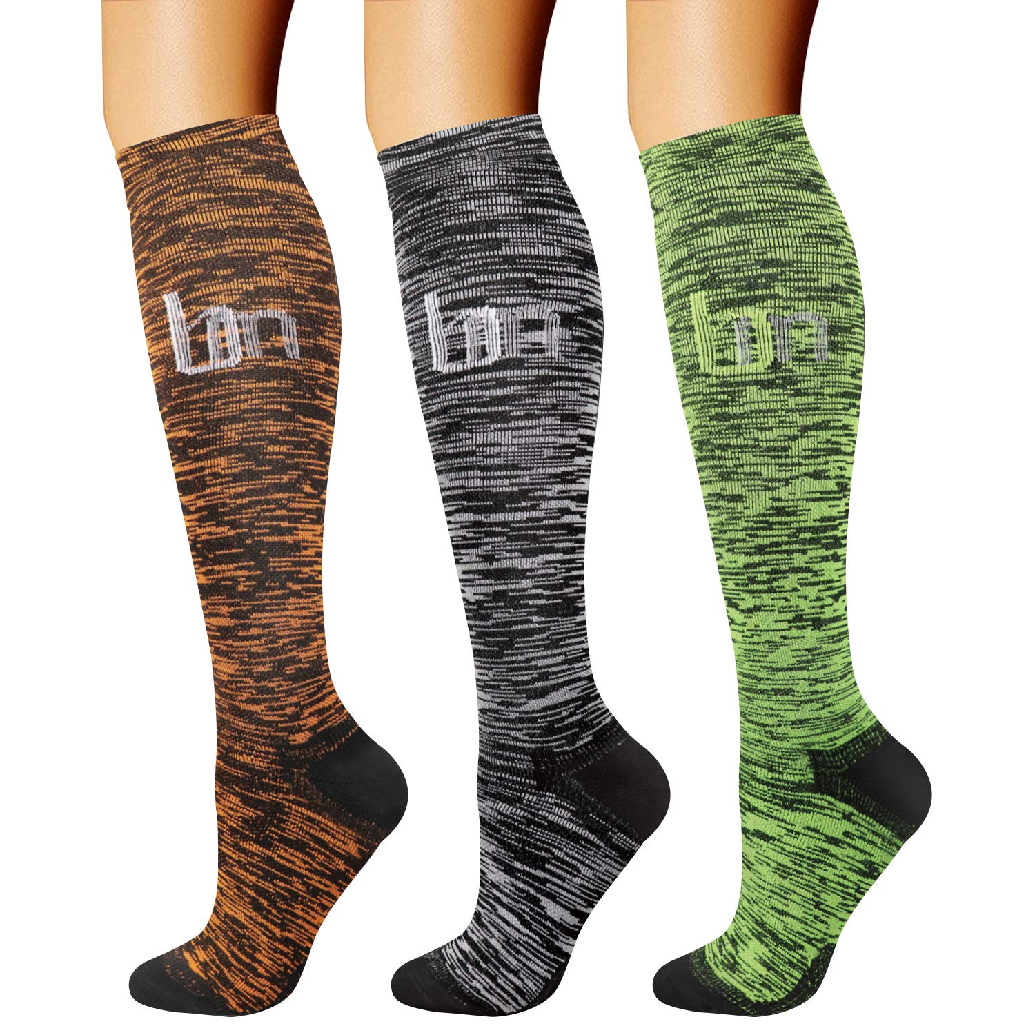 CHARMKING Compression Socks (3 Pairs) 15-20 mmHg is Best Athletic & Medical for Men & Women, Running, Flight, Travel, Nurses, Edema - Boost Performance, Blood Circulation & Recovery (L/XL,Assorted 27) by CHARMKING